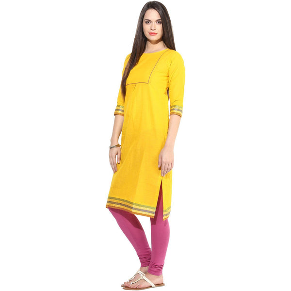 Kurtas - Yellow South Cotton Boat Neck Kurta With Side Slits