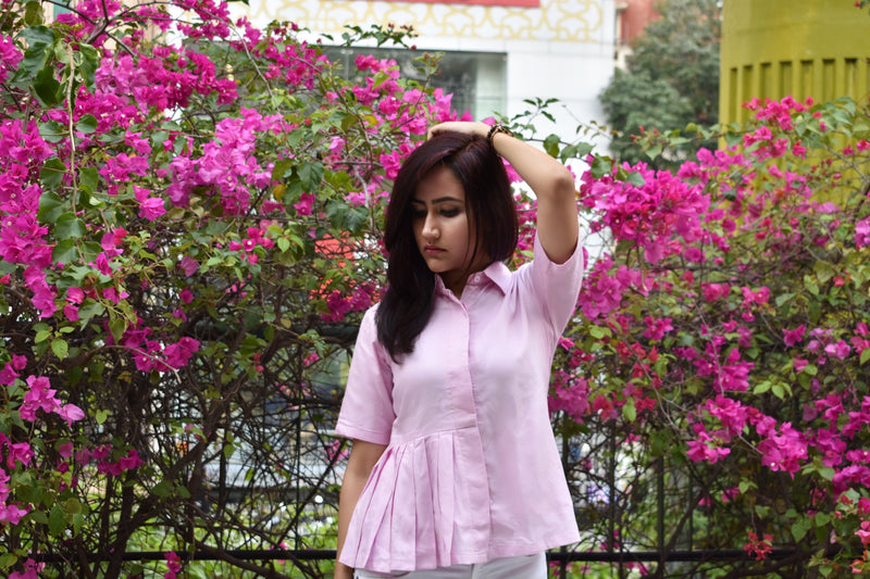 Shirt, Top - Onion Pink Shirt (Single Sided Pleats)
