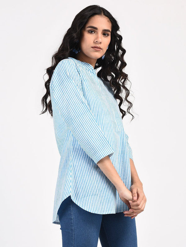 Tops - Block Print Stripe V Band Collar Tunic Top (Off White And Blue)