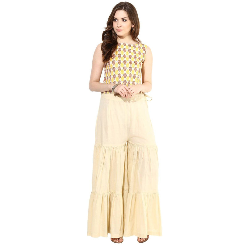 Tops - Block Printed Top (Cream-Yellow-Brown)