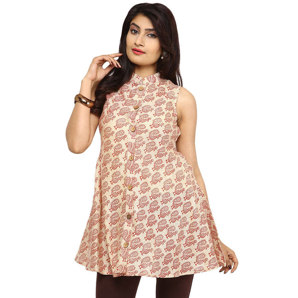 Tunics - Block Print Kurta (Cream-Dark Brown)
