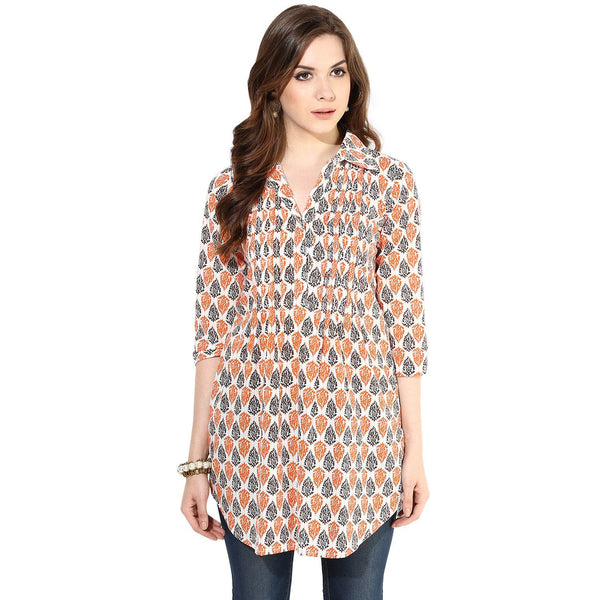 Tunics - Block Printed Pintuck Detail Tunic Top (Cream-Black-Orange)
