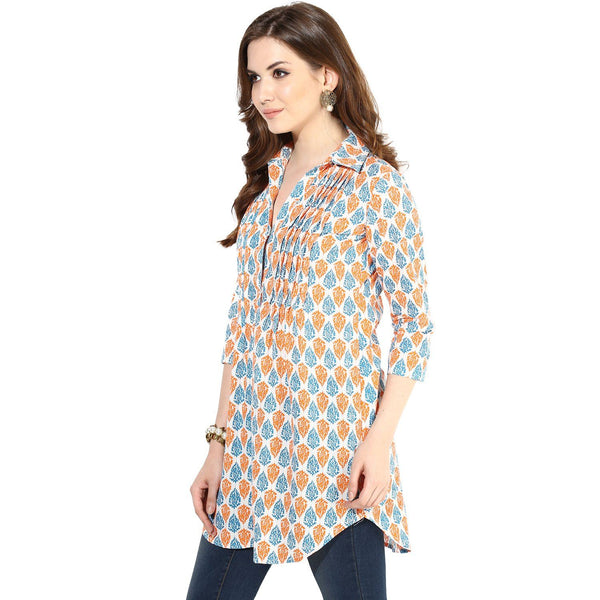 Tunics - Block Printed Pintuck Detail Tunic Top (Cream-Blue-Orange)