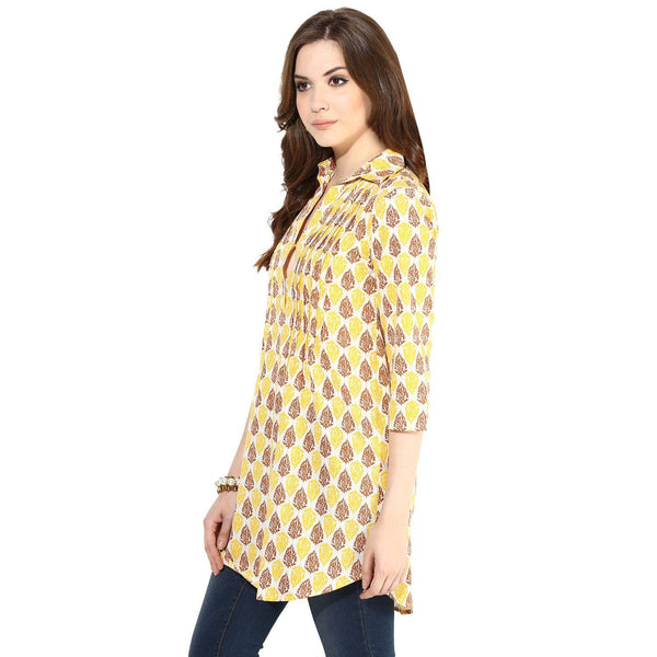 Tunics - Block Printed Pintuck Detail Tunic Top (Cream-Yellow-Brown)