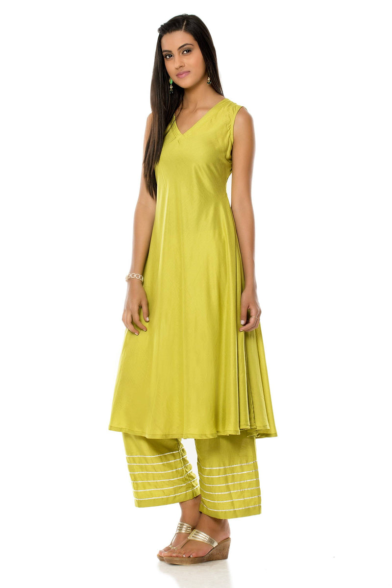 Two Piece Set - Light Green Cotton Kurta And Palazzo Set