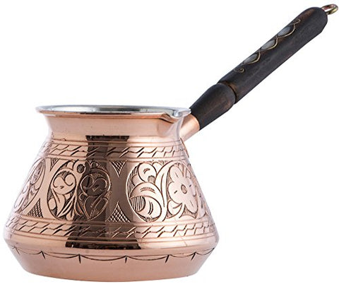CopperBull THICKEST Solid Hammered Copper Turkish Greek Arabic Coffee Pot - al-qahwa