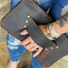 The Raleigh Leather Clutch - DARK BROWN