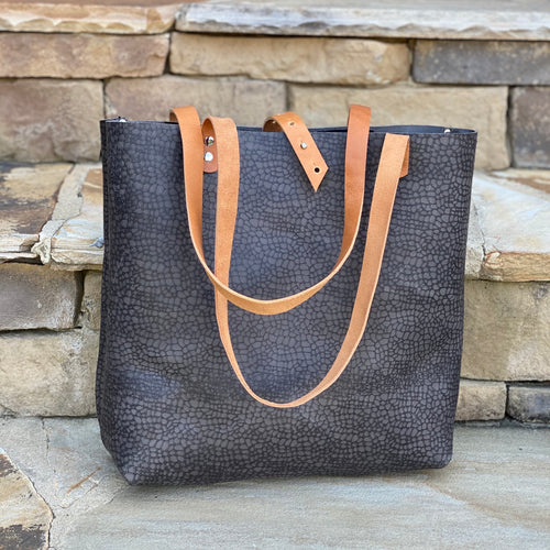 Smoky Gray Large Leather Tote