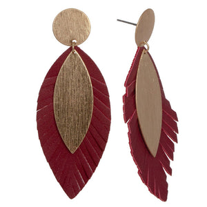 Burgundy Faux Leather Earrings