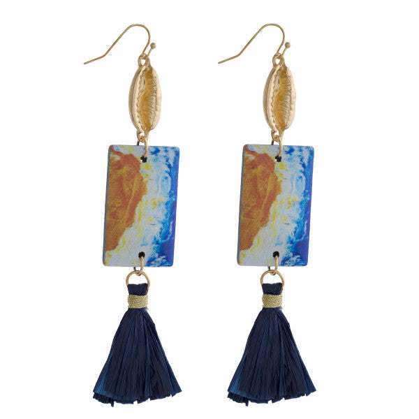 Starfish Long Blue Earrings