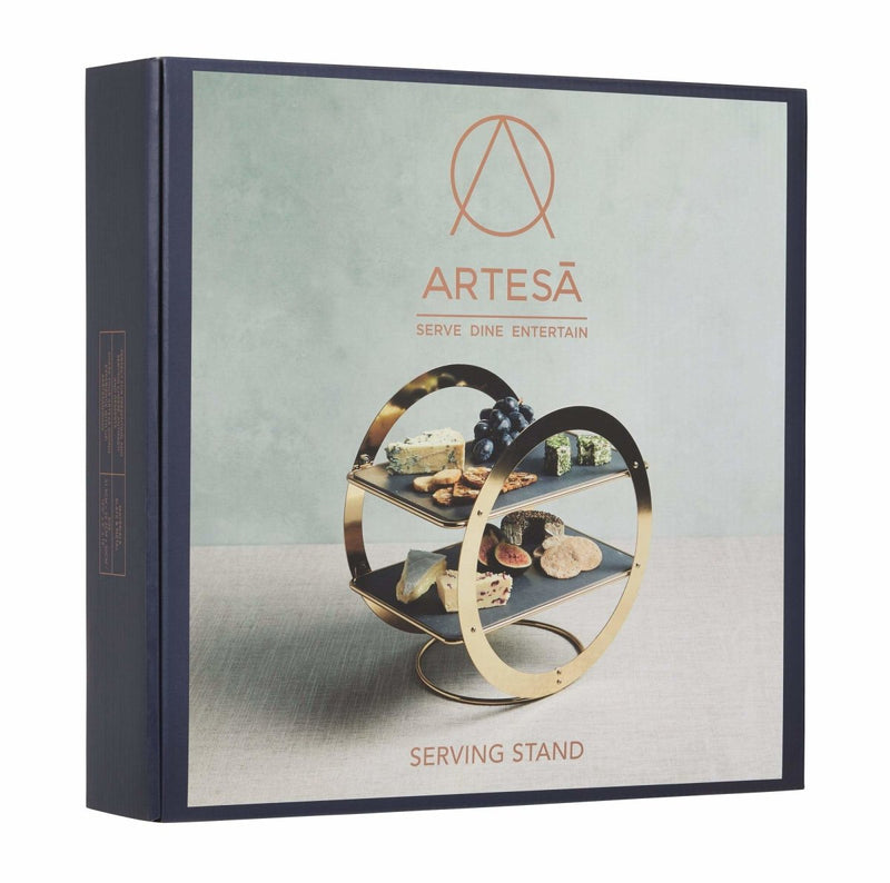 Kitchencraft - Artesà 2-Tier Geometric Brass Coloured Serving Stand with Slate Serving Platters - Serveware - mzube -