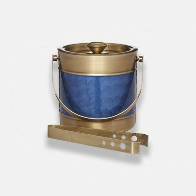 Barcraft - BarCraft Stainless Steel Blue and Brass Finish Ice Bucket - Barware - mzube - BCICBUCBLUBRS