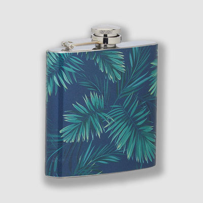 Barcraft - BarCraft Stainless Steel Tropical Leaves 175ml Hip Flask - Barware - mzube - BCPALMFLSK