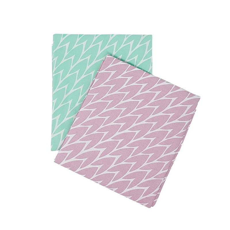 Laura Jackson - Laura Jackson Leaf Tea Towel / Pink & Mint 2 Pack - Kitchen Homeware - mzube - LTPM22