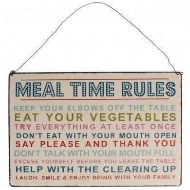 Rex - Meal Time Rules Vintage Hanging Metal Sign - Kitchen & Dining - mzube - 24428