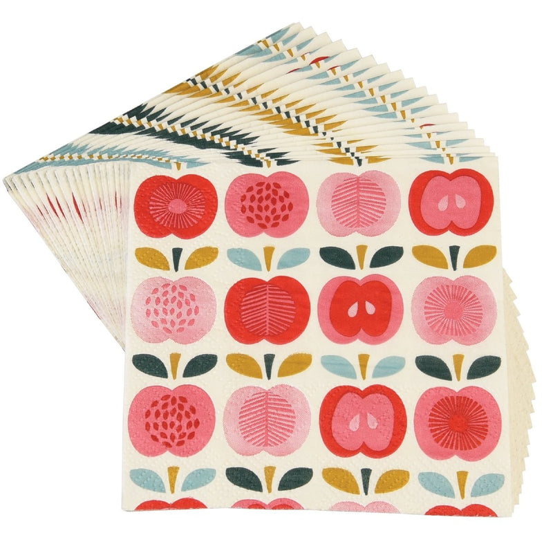 Vintage Apple Pack Of 20 Cocktail Napkins - mzube Lunchbox