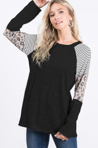 Round Neck Stripe and Leopard Contrast Top