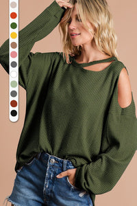 THERMAL WAFFLE KNIT TOP WITH CUT OUT NECK AND SHOULDER DETAIL