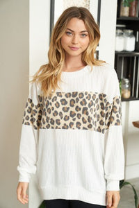 Long Sleeve Waffle Knit Sweater with Leopard Trim