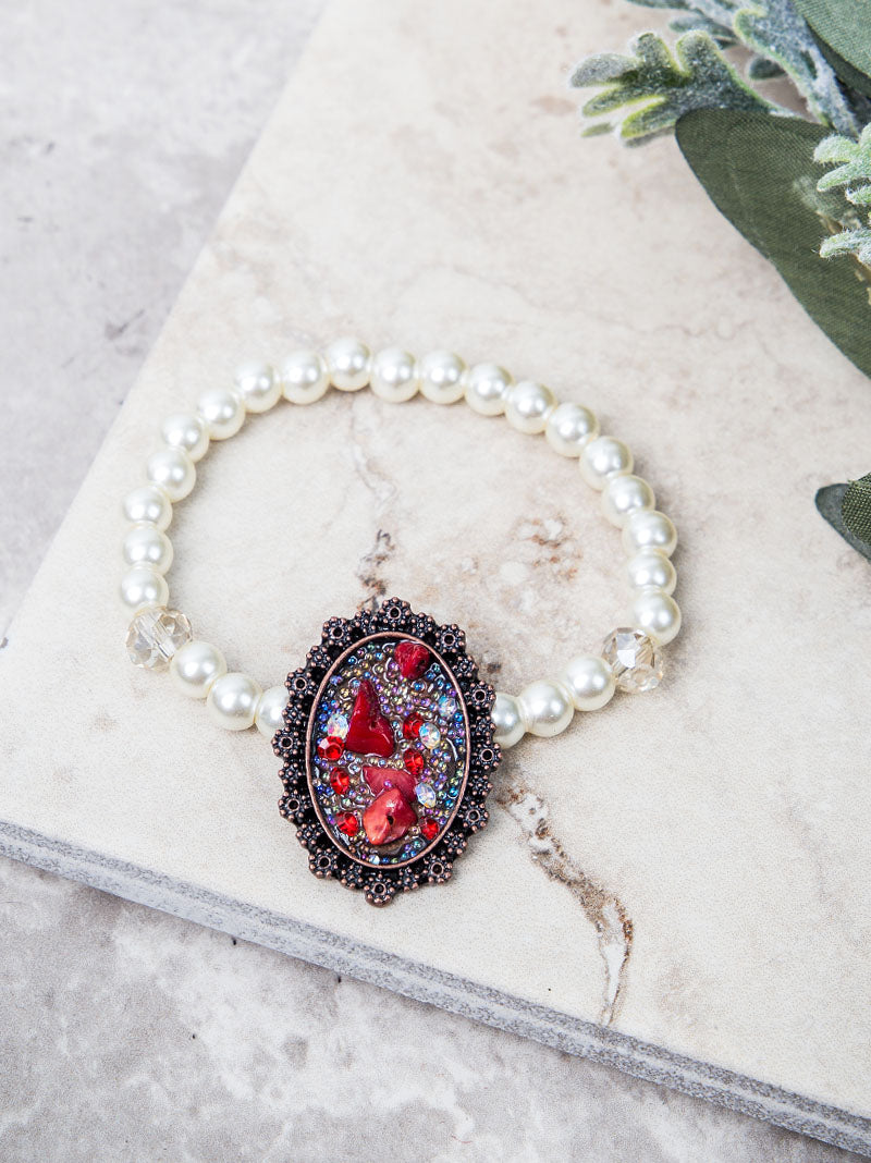 Ornate Red Stone Pendant on Pearl and Clear Beaded Stretch Bracelet