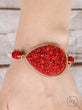 Red Druzy Crystal Teardrop Pendant on Beaded Stretch Bracelet, Gold
