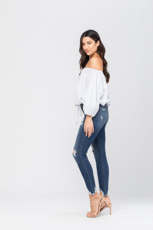 Destroyed Hem Skinny Jeans