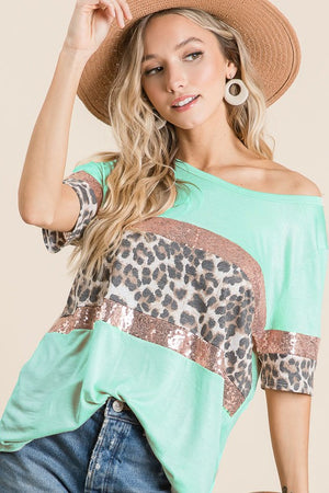 JERSEY KNIT TOP WITH LEOPARD AND SEQUINS BLOCK FRONT AND SLEEVES
