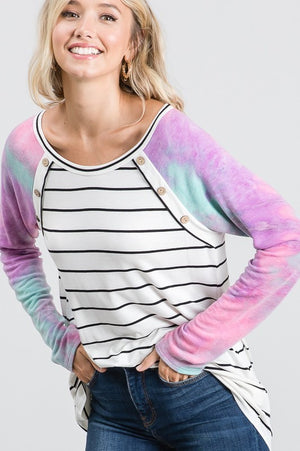 Tie Dye and Stripe Contrast Top with Button