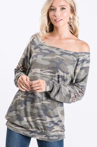 Camo and Leopard Off the Shoulder Top