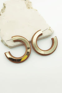 Wooden and Metal Plate Hoop Earrings