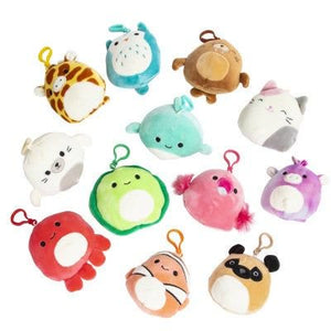 SQUISHMALLOWS 3.5 Inch Super Soft Mochi Squishy Plush Keychain Clip Set of 12 - Includes 12 Random Styles - No Duplicates