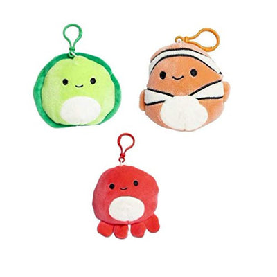 SQUISHMALLOWS 3.5 Inch Super Soft Mochi Squishy Plush Keychain Clip Set of 3 - Includes 3 Random Styles - No Duplicates