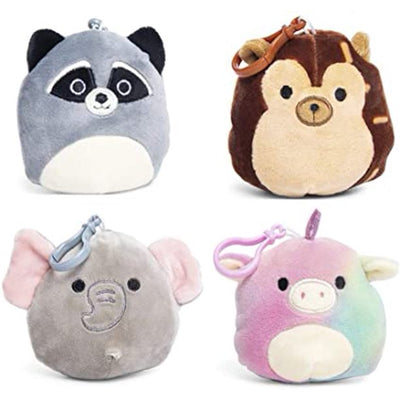 SQUISHMALLOWS 3.5 Inch Super Soft Mochi Squishy Plush Keychain Clip Set of 4 - Includes 4 Random Styles - No Duplicates