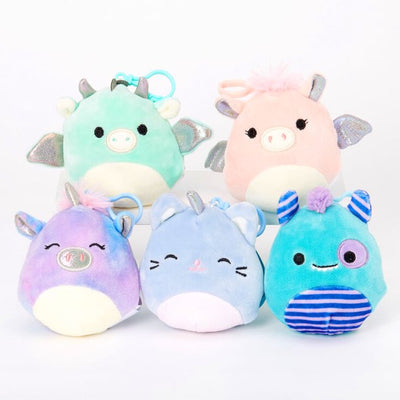 SQUISHMALLOWS 3.5 Inch Super Soft Mochi Squishy Plush Keychain Clip Set of 5 Series Two - Includes 5 Random Styles - No Duplicates