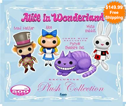 Funko Alice in Wonderland Limited Edition Vaulted Plush set of 4 with Purple Cheshire cat / only 500 sets made.