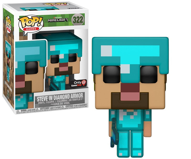 Funko Pop Minecraft Diamond Steve Gamestop Exclusive