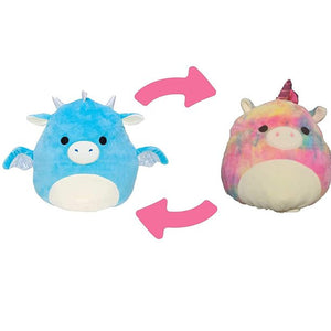 "Squishmallow 2020 Flip-A-Mallows Mini 5"" Plush Toy (5"" Devin The Blue Dragon Flipped into Esmeralda The Rainbow Unicorn)"