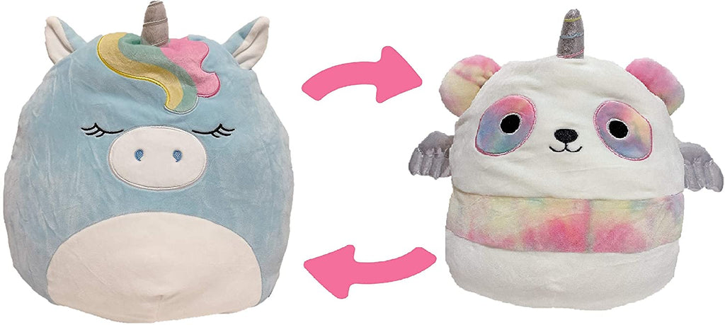 "SQUISHMALLOWS Kellytoy 2020 Flip-A-Mallows #2 Plush Toy (5"" Hudson The Blue Unicorn & Pei The Pandacorn)"
