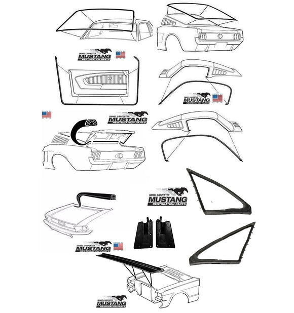 1967 Early Mustang Fastback Deluxe Weatherstrip Seal Kit Windshield Roof Doors