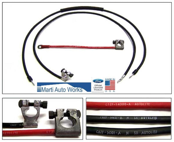 1968 1969 Mustang 428 Cobra Jet Battery Cable Set - Marti Auto Works