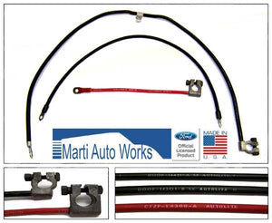 1970 Mustang Light Duty V8 Battery Cable Set (Before 11/12/69) - Marti Auto Works