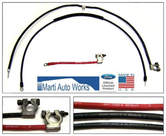 1970 1971 Mustang Battery Cable Set Light Duty V8 (Built After 11/12/69) - Marti Auto Works