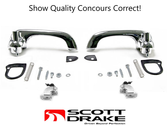 1964 1965 1966 Mustang Exterior Door Handles Chrome Show Quality Kit - Scott Drake