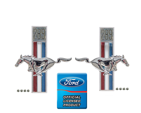 1967-1968 Mustang 289 Running Horse Fender Emblems Pair - Scott Drake