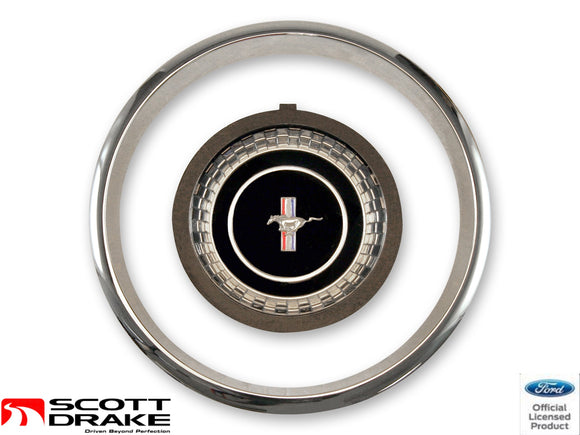 1967 Mustang Steering Wheel Hub Emblem & Trim - Scott Drake