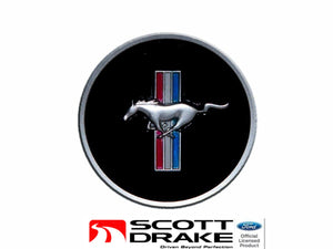 1968 Mustang Horn Panel Emblem with Classic Mustang Tri-Bar Logo - Scott Drake