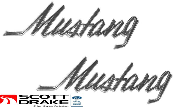 1969 1970 1971 1972 1973 Mustang Fender & Trunk Emblem Script Pin On Pair - Scott Drake