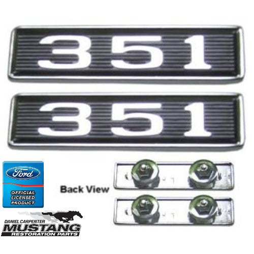 1969 Mustang 351 Hood Scoop Emblem Assembly w/Fasteners Pair - Daniel Carpenter
