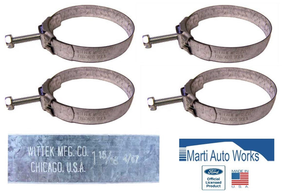 1967 1968 Mustang Small Block 289 Radiator Tower Hose Clamps (4) - Marti Auto Works