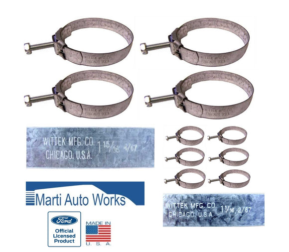 1967 1968 Mustang 289 V8 Wittek Tower Radiator & Heater Hose Clamps - Marti Auto Works